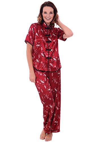 Alexander Del Rossa Womens Satin Pajamas, Chinese Inspired Pj Set, Small Wine (A0728WNESM)