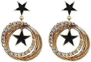 LBLFG Pendientes Colgantes de Estrella Negra Pendientes de Cristal con Recorte Redondo de Temperamento para Mujer