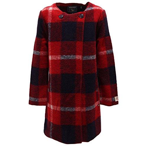 Jacket Rosso Lana Bimba Woolrich Giacca Wool 7430s bianco Misto blu Girl Cappotto qw8zZ
