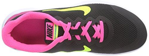 Nike  Flex Experience 4 (GS), Running mixte enfant - Noir - Schwarz (Black/Volt-Pink Pow-White 007), 35.5