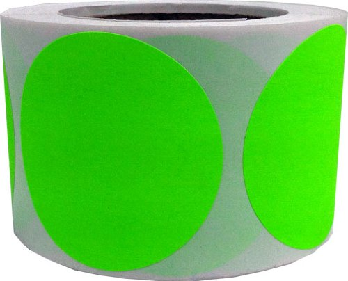 Fluorescent Green Color Coding Labels Round Circle Dots 3 Inch 500 Total Adhesive Stickers
