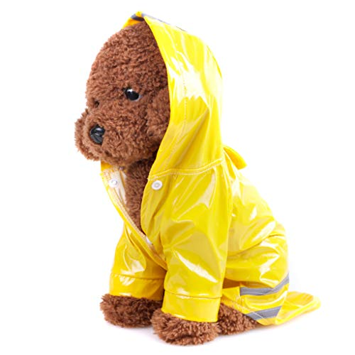 Pet Raincoat for Dogs Waterproof Hooded Cloak Buttons Jacket with Striped Puppy Apparel Clothes Rainwear (S, Yellow)