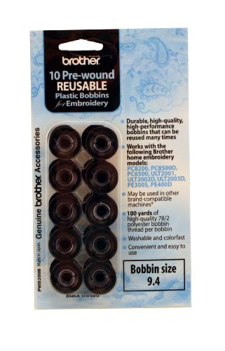 Brother PWB200B Prewound Embroidery Bobbin Thread 10 Piece, Black