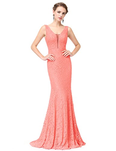 Ever-Pretty Womens Sexy Double V-Neck Fitted Lace Mermaid Style Military Ball Dress 14 US Peach
