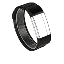 Wearlizer Milanese Loop Replacement Metal bands - Fitness Wristband for Fitbit Charge 2, Black Large