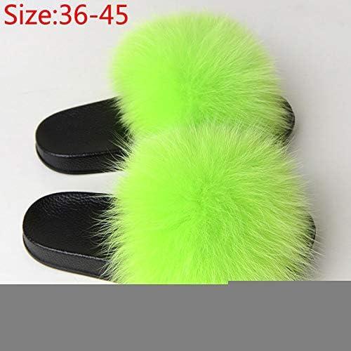 女性の毛皮ふわふわフラットスリッパ女性毛皮のぬいぐるみフォックス髪の屋内スライドレディースカジュアル女性の靴のファッションプラスサイズの2020夏 (Color : 1brown, Shoe Size : 11)