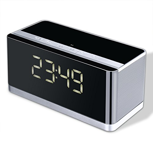 All-in-one Bluetooth Speaker with LED Display Alarm Clock, FM,Hands-free Calls, MP3 Player- Perfect for Home and outdoor-ICODE Sports (BLACK)