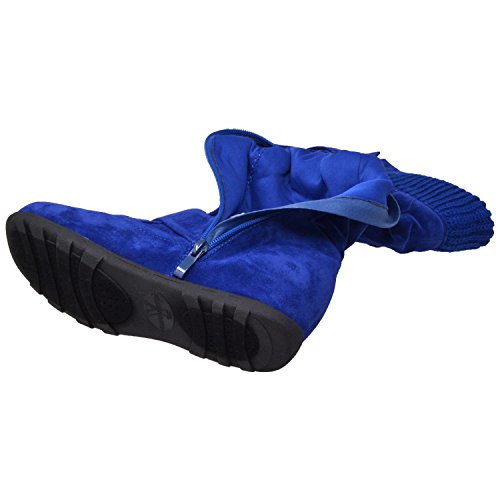 Generation Y Frauen Kniehohe Mid Kalb Stiefel mit Rüschen Wildleder Gestrickte Kalbsschnallen Gummisohle GY-WB-233 Königsblau