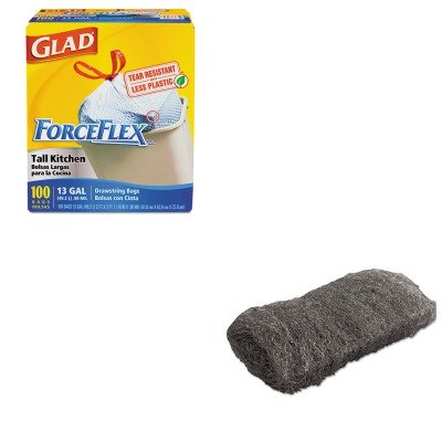 KITCOX70427GMA117004 - Value Kit - Global Material Technologies Industrial-Quality Steel Wool Hand Pad (GMA117004) and Glad ForceFlex Tall-Kitchen Drawstring Bags (COX70427)