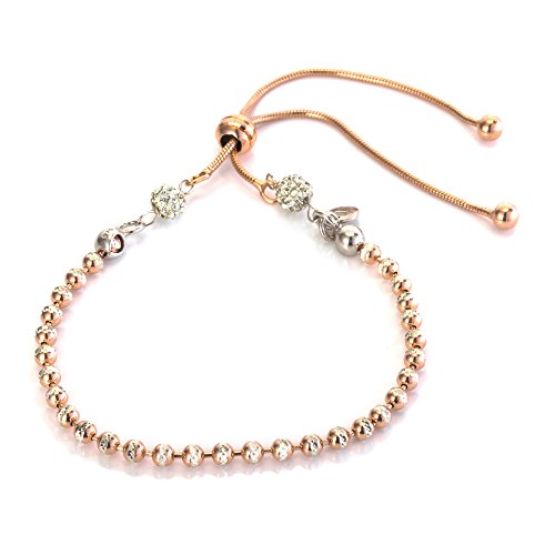 925 Rose Colour Sterling Silver Zirconia Exquisite Expandable Bead Friendship Bracelet