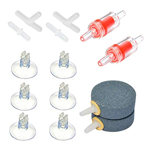 Pawfly Aquarium Air Pump Accessories Set for Fish Tank, 2 Air Stones, 2 Check Valves, 4 Connectors and 6 Suction Cups