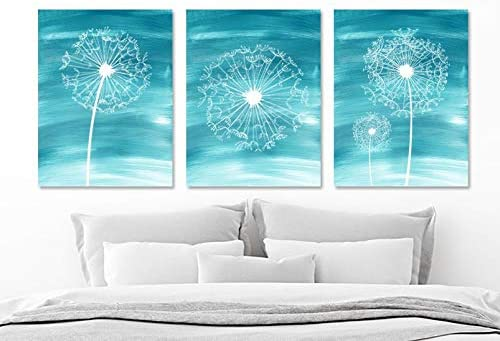 Watercolor Dandelion Wall Art Water Ombre Teal Bedroom Wall Decor Canvas Or Prints Dandelion Teal Bathroom Wall Decor Set Of 3 Pictures 8x10 Inch Amazon Ca Home Kitchen