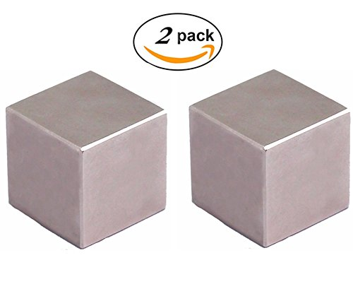 N52 Cube Super Strong Neodymium Magnet, One Inch Cube Permanent Powerful Rare Earth Magnets -2 Pack
