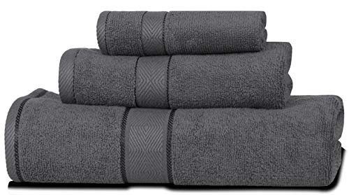 DIVINE Elysian - Premium ,100% Natural Ring-Spun finest quality double ply cotton yarn,Soft,Extra Absorbent & Durable, Quick-dry 3 Pc Towel Set (1 Bath Towel ,1 Hand Towel & 1 Washcloth) - Dark Grey