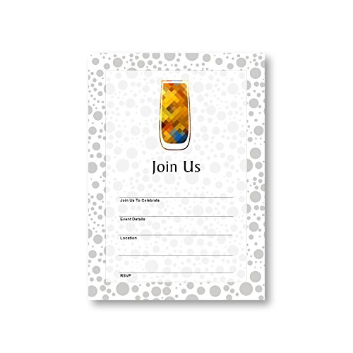 - Highball Drink Pocket, Flat Party Invitation Card, 12 Cards at 5x7, with White Envelopes, Item 1005499