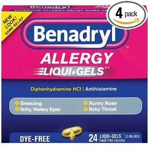 - Benadryl Dye-Free Allergy Reliefs, 24-Count Liqui-gels (Pack of 4)