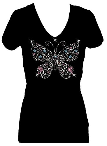 Butterfly Multi Rhinestone Womens V Neck Short Sleeve Tee Shirt (3X) Black -