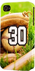 Baseball Sports Fan Player Number 30 Plastic Snap On Flexible Decorative Apple iPhone 5/5s Case