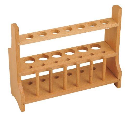 Eisco CH0003C Wood Test Tube Rack, 13 Hole, 6 Pin - 2 Shelves, 20-25mm