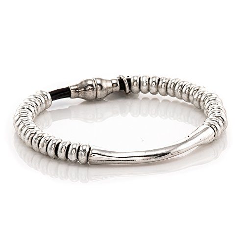 Trades by Haim Shahar Tia Leather Bracelet handmade in Spain designer sterling silver plated beads and magnetic clasp ()