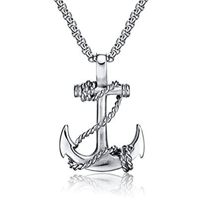 Men Nautical Anchor Necklace Stainless Steel Pirate Pendant Necklaces with 21.6 inch Chain by Feraco