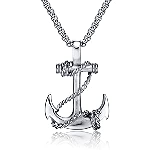 Feraco Anchor Necklace Men Vintage Stainless Steel Cross Nautical Pirate Pendant Chain Necklaces