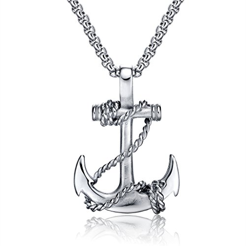Feraco Anchor Necklace Men Vintage Stainless Steel Cross Nautical Pirate Pendant Chain Necklaces, (Men's Anchor Necklace)