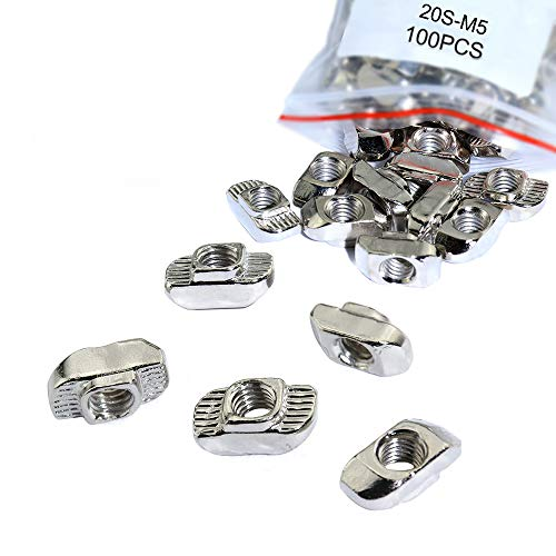 KOOTANS 100-Pack 2020 Series M5 Thread T Hammer Nuts, Fastener Nut Sliding T-Nut for 20 Series T Slot 6mm Aluminum Extrusion Profile