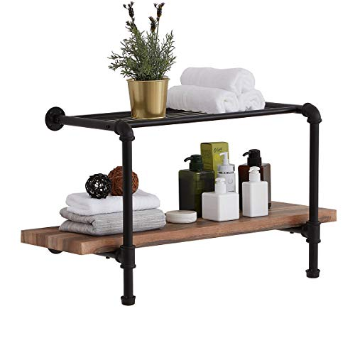 Homissue 2-Tier Pipe Wall Shelving, Wall Mounting Bathroom Rack, Rustic Hanging Shelf Unit