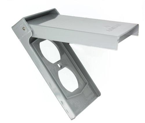 Leviton 4926 1-Gang Duplex Device Receptacle Wallplate, Weather-Resistant, Die-Cast Zinc, Device Mount, Vertical, Gray