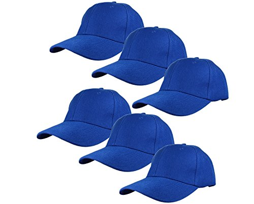 Gelante Plain Blank Baseball Caps Adjustable Back Strap Wholesale Lot 6 Pack-001-Royal Blue -