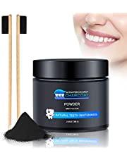 WOSTOO Activated Charcoal Teeth Whitening Powder, Natural Teeth Whitener Kit with 2 * Bamboo Charcoal Toothbrush, Peppermint Flavour Freshens Breath Proven Safe for Coconut Charcoal Powder Toothpaste