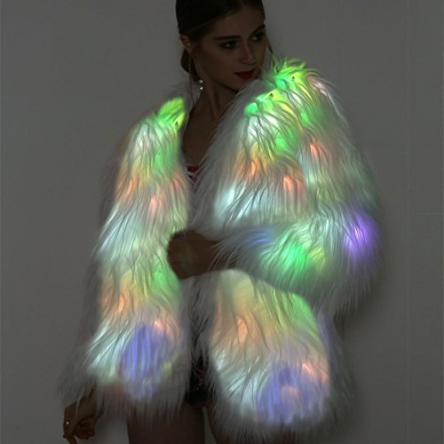 Winter Women Burning Rainbow Up Fur Faux Outwear Glow Fluffy Costume Sparking sztopfocus Light LED wI4dSdq