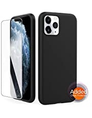 "AhaStyle Silicone Case Soft Liquid Silicone Slim Rubber Protective Case Cover [Added Screen Protector] Compatible with iPhone 11, iPhone 11 Pro, iPhone 11 Pro MAX (2019) (iPhone 11 Pro 5.8"", Black)"