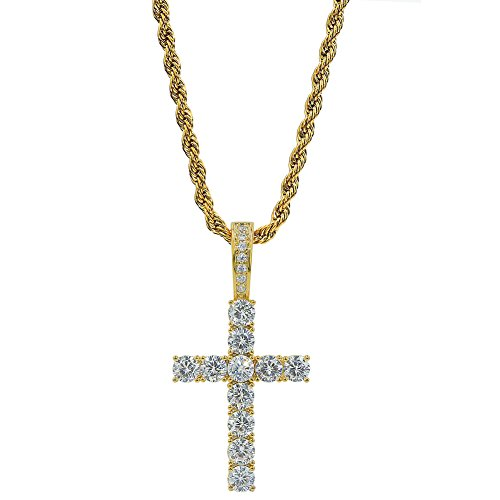 TOPGRILLZ 14K Gold&Silver Plated Iced Out CZ Lab Cubic Zirconia Lion Cross Pendant Neckace Mens Stainless Steel ()