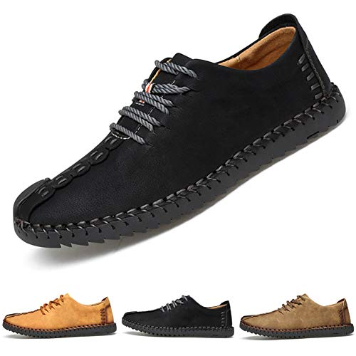 772e5108 Suede Casual Shoes Men's British Style Handmade Leather Oxford Shoes Flats  Lace-up Loafers Flats