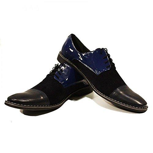 PeppeShoes Modello Siro - Cuero Italiano Hecho A Mano Hombre Piel Azul Marino Zapatos Vestir Oxfords - Cuero Charol - Encaje