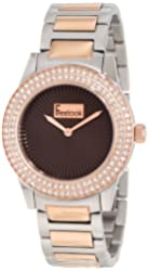 Freelook Women's HA5338RG-4B Silver/Rose Gold Band Brown Dial Swarovski Bezel Watch
