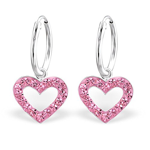 Cut Out Style Multi color Crystals Girls Sterling Silver Nickle Free (24991 Light Rose) (Multi Color Crystal Heart Earrings)