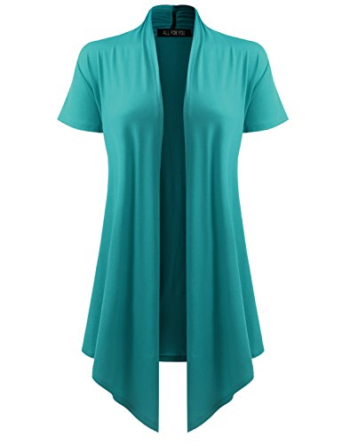 All for You Women's Soft Drape Cardigan Short Sleeve Dark Jade Small ()