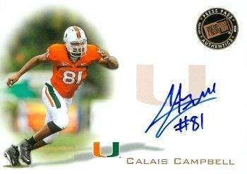 2008 Miami Hurricanes Football - Calais Campbell autographed football card rookie (University of Miami Hurricanes now with Jacksonville Jaguars) 2008 Press Pass #PPSCC