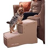 Pet Gear Easy Step II Escaleras para Mascotas, 2 peldaños para Gatos/Perros de hasta 150 Libras, portátil, Alfombra extraíble Lavable, Bronceado, 2 Pasos