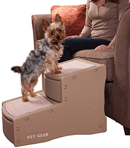 Pet Gear Easy Step II Pet Stairs, 2 Step for Cats/Dogs up to 150 Pounds, Portable, Removable Washable Carpet Tread, 2-Step, Tan