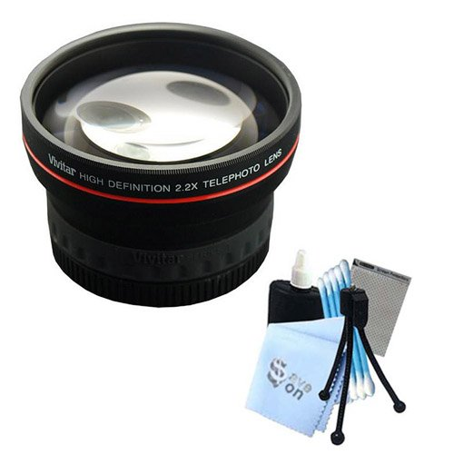 """Price comparison product image Vivitar Series 1 """"RedLine"""" HD 2.2X Telephoto Lens w/ Complete Cleaning Kit for Panasonic GF2 GH2 GH3 Cameras"""