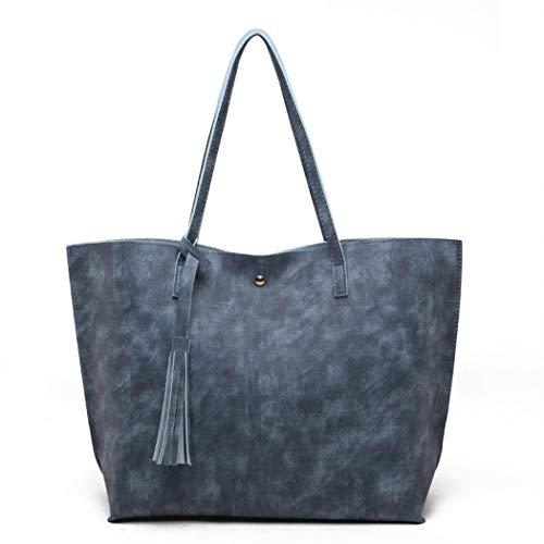 (Nodykka Women Tote Bags Top Handle Satchel Handbags PU Pebbled Leather Tassel Shoulder Purse (Blue3))