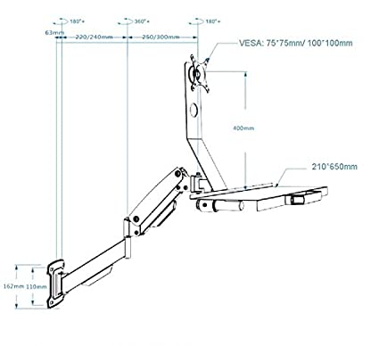Amazon Com Wall Mount Gas Spring Monitor Keyboard Tray Holder Lcd