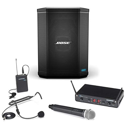 Bose S1 Pro Ultra-Portable Portable Bluetooth Bundle with Samson Concert 288 Dual-User Wireless Microphone System - Multi-Position All-In-One PA Sound System On-the-Go (2 Items)
