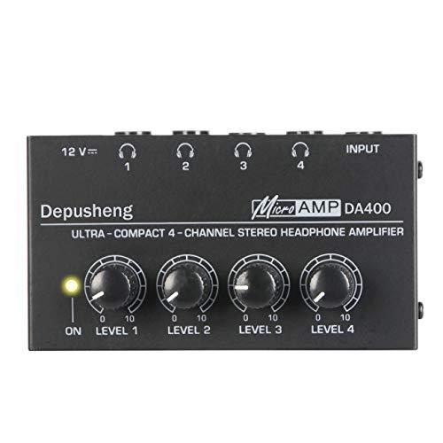 Depusheng DA400 Ultra-Compact 4 Channels Mini Audio Stereo Headphone Amplifier with Power Adapter Black