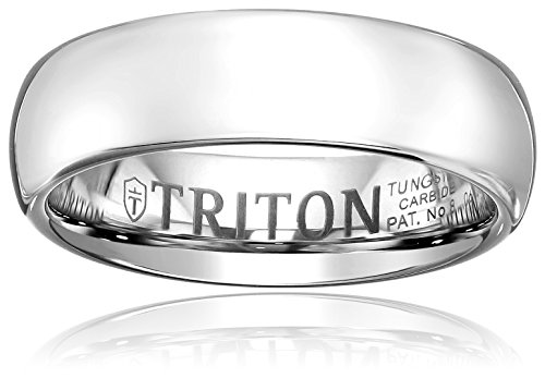 Triton Men's Tungsten 6mm Domed Comfort Fit Wedding Band, Size 8 by Amazon Collection