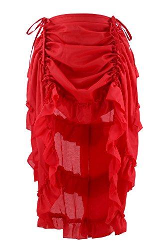 Charmian Women's Steampunk Gothic Victorian Cyberpunk High Low Ruffle Skirt Red XXXXXX-Large -